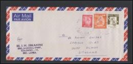 SRI LANKA Letter Brief Postal History Cover LK 005 Air Mail Music Players - Sri Lanka (Ceylon) (1948-...)
