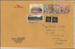 SRI LANKA Letter Brief Postal History Cover LK 011 Air Mail Zodiac Signs Train Christmas Birds - Sri Lanka (Ceylon) (1948-...)