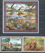 162 GAMBIE 1995 - Dinosaure Prehistoire (Yvert 1759/70 BF 241/42) Neuf ** (MNH) Sans Trace De Charniere - Gambie (1965-...)