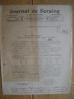 Lettre 1920 JEMEPPE-SUR-MEUSE - JOURNAL DE SERAING & DES ENVIRONS - Bi-hebdomadaire - Ohne Zuordnung