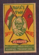 Matchbox Label-Gandhi Mf. West Co. Ltd. Travancore #DG01 - Matchbox Labels
