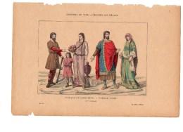 Gravure Coloriée Costumes De Paris à Travers Les Siècles Famille De Laboureur Noble N°10 J. PEGARD Geffroy éditeur - Prints & Engravings