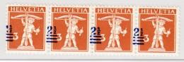 Schweiz 1921  #146 Vierer-Streifen ** Audruck Stark Verschoben (Zwischen Marken, Zähnung) - Schweiz