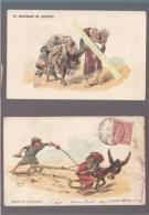 Humour Afrique Du Nord - Lot De 2 CP - Herzig - Marchand, Femme Attelée - Voir état - Humour