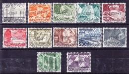 Schweiz 1949 #297-307 ET-Vollstempel Original Gummi Komplette Serie Technik Und Landschaft - Usati