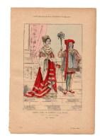 Gravure Coloriée Costumes De Paris à Travers Les Siècles Noble Dame Se Rendant à La Messe N°31 Geffroy éditeur - Prints & Engravings