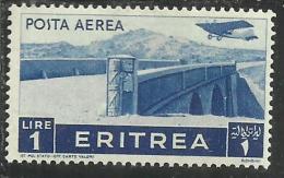 ERITREA 1936 SOGGETTI AFRICANI AEREA LIRE 1 LIRA  MNH - Eritrea