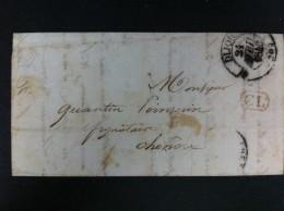 CARTA DE DIJON 21 ABRIL 1840 21 EN NEGRO A CHONOU MATASELLO GRANDE POR DEPARTAMENTO MARCA C2 EN ROJO DENTRO RECTANGULO - 1801-1848: Precursores XIX