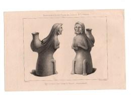 Gravure Charles Pensée Del Figurine Trouvée Dans L''isthme De Panama Imp Lemercier Mémoires De La Société Royale - Prints & Engravings