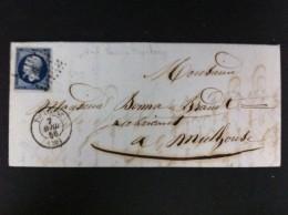 CARTA TOULOUSE 7 ABRIL 1856 A MULHOUSE LAS 2 EN NEGRO MUY BIEN ESTAMPADAS CON EL SELLO Nº14AG AL DORSO PARIS STRASBOUG - Marcofilia (sobres)