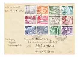 Schweiz Luzern 1.8.1949 Brief Nach München Am. Zone Mit #297 Bis 308 Serie Technik Und Landschaft FDC - Lettres & Documents