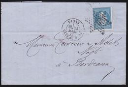 France - N°22 Sur LaC Obl. 1865 Paris Gare Du Nord étoile 26 Pour Bordeaux - 1849-1876: Classic Period