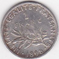 France Lot X93, 1 Franc Semeuse Argent 1898 - H. 1 Franco