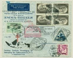Nederlands Indië - 1934 - Kerstvlucht Batavia - Paramaribo, Plaatfouten Emmazegels En Envelop Met Opdruk - Nederlands-Indië