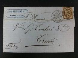 CARTA CON EL Nº14 DE MARSELLA 11 AGOSTO 1876 A TRENTO (ITALIA) AL DORSO MATASELLO DE LLEGADA  MARCA COMERCIAL AZUL - Marcofilia (sobres)