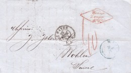 1854LETTRE LE HAVRE  WANNER LANGER & Cie POUR WOHLEN ARGOVIE TAXE SUISSE 40 EN ROUGE / 310 - Marcophilie (Lettres)