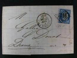 CARTA CON EL Nº60B DE LYON 1874 LES TERREAUX Y ROMBO DE PUNTOS CON Nº9316 A ST DONAT MARCA EN TRANSITO VALENCE S LAS 3 - Marcofilia (sobres)