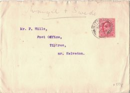 AH44       1908  Witham. Essex  GB  EVII 1d Stamp Cover To Kelvedon - Storia Postale