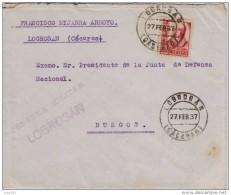 GUERRA CIVIL, DE LOGROSAN (CACERES) A BURGOS, CENSURA MILITAR DE LOGROSAN, RARA - 1931-50 Brieven