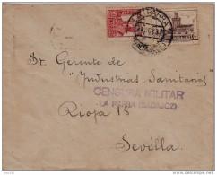 GUERRA CIVIL, DE LA PARRA (BADAJOZ) A SEVILLA, CENSURA MILITAR DE LA PARRA, RARA - 1931-50 Brieven
