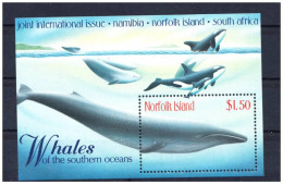 NORFOLK ISLAND SHEET MARINE LIFE FAUNA MARINA FAUNE WHALES BALEINES BALLENAS ORCAS - Walvissen