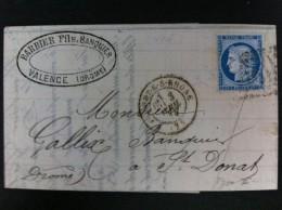 CARTA CON EL Nº60B TIPO II DE VALENCE S RHONE 1874 A ST DONAT AMBAS EN NEGRO EN FRENTE MARCA COMERCIAL EN NEGRO - Marcofilia (sobres)