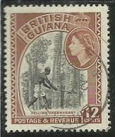 BRITISH GUIANA GUYANA BRITANNICA 1954 QUEEN ELIZABETH II PICTORIAL FELLING GREENHEART CENT. 12 12C USATO USED - British Guiana (...-1966)