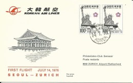 RF 76.13, Korean Air Lines, Seoul - Zurich, DC-10, 1976 - Airmail