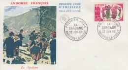 Enveloppe  FDC  1er  Jour  ANDORRE   La   Sardane     1963 - FDC