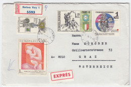 Soccer Stamps On Cover Travelled 1970 Czechoslovakia To Austria Registered Bb160429 - World Cup