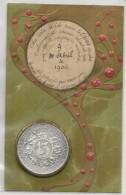CPA 1906 - MONNAIE ALUMINUM DE CHANCE - AVEC NUMERO 13 Et Trèfles 4 Feuilles - - Coins (pictures)