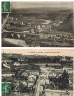 Saint Léonard: 2 Cartes, Vue Générale Et Faubourg Du Pont De Noblat - Saint Leonard De Noblat