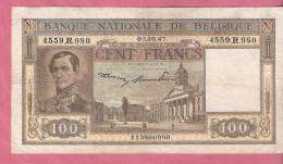 BELGIE 100 FRANCS 3-10-47 P126 - [ 2] 1831-... : Royaume De Belgique