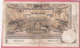BELGIE 100 FRANCS 17-10-1919 P78 - [ 2] 1831-... : Royaume De Belgique