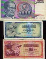 YOUGOSLAVIE - Lot De 3 Billets - Yougoslavie
