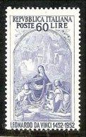 1952 Italia Italy Repubblica LEONARDO DA VINCI 60 Lire MNH** - Madonna