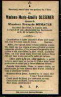 Souvenir Mortuaire GLESENER Marie (1884-1921) ép. REMACLE, F. Morte à BERCHEUX - Images Religieuses