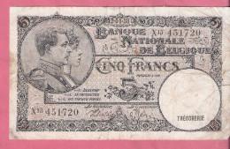 BELGIE 5 FRANCS 12-4-38 P108a - [ 2] 1831-...: Belg. Königreich