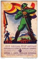HOMENAJE AL EJERCITO POPULAR ESPAÑOL, TARJETA POSTAL FRANCESA DE AYUDA, MUY RARA - 1931-Oggi: 2. Rep. - ... Juan Carlos I