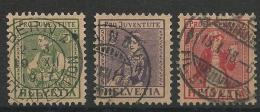 SUISSE - YVERT N° 154/156 OBLITERE  - COTE = 87.5 EURO - PRO JUVENTUTE - Suisse