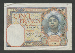 TUNISIA - 5 Francs  1941  P8b  About VF / Pr.TTB ( Banknotes ) - Tunisie