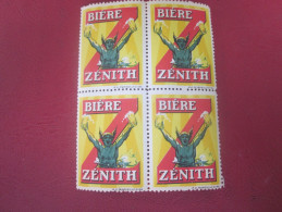 Vignette VIGNETTES BLOC DE 4 TIMBRE's PUBLICITAIRE PHÉNIX LA Bière Beer BIÈRE  Label Sticker-Aufkleber-Bollo-Viñeta - Autres