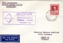 1er Vol Inaugurale TURIN - Paris  Ligne Par R ALITALIA 1 6 1958 TTB - Premiers Vols