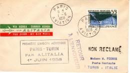 1er Vol Inaugurale PARIS - TURIN  Ligne Par  ALITALIA 1- 6 -1958 TTB - Premiers Vols