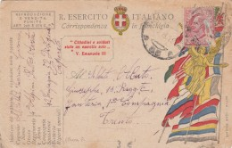 1918 CARTOLINA. CORRISPONDENZA IN FRANCHIGIA.  SOLDATI 4° ALPINI AOSTA 52 DIVIZIONE CAPORETO-TRENTO / 232 - Militaria