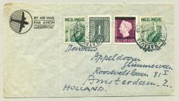 Nederlands Indië - 1949 - Leuke Mengfrankering Met Veldpost Batavia Naar Amsterdam - Netherlands Indies