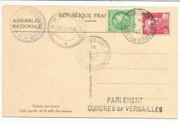 OBLITERATION SUR CARTE VERSAILLES CONGRES PARLEMENT DU 6/1/1947 - Marcophilie (Lettres)