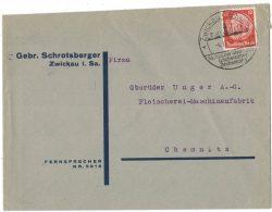AH47     Hindenburg (1934) Trauer, 12 Pfg. Sächs. Zechenkoks Ex Zwickau (Energie) - Germania
