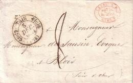 DROME - TAIN - T11 DU 5-12-1834 - TAXE 8 - LETTRE POUR L´EVEQUE DU BLOIS -CACHET COMMERCIAL ROUGE LA PAINE & C A TAIN - Marcophilie (Lettres)
