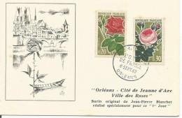 CACHET FDC PUBLICITAIRE  ORLEANS VILLE DES ROSES 1962 - Commemorative Postmarks